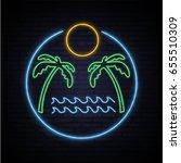 sunny summer. neon pattern... | Shutterstock .eps vector #655510309