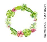 round frame with tropical...   Shutterstock . vector #655510984