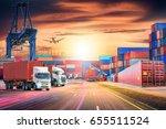 logistics import export... | Shutterstock . vector #655511524