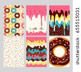 Set Of Bright Donut Cards. Set...