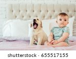 Stock photo little baby girl sit on the bed with labrador puppy 655517155