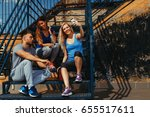 handsome man and two woman... | Shutterstock . vector #655517611