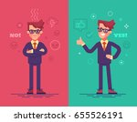 angry and positive businessmen. ... | Shutterstock .eps vector #655526191