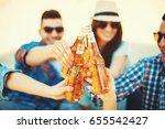 happy young people having fun... | Shutterstock . vector #655542427