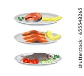 set of fish dishes. vector...