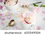 Stock photo summer refreshing desserts vegan diet food ice cream with rose petals and slices of almond in 655549504