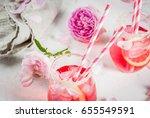 summer refreshment drinks.... | Shutterstock . vector #655549591