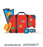 tourist suitcase  camera hat ... | Shutterstock .eps vector #655550077