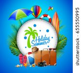 summer holiday with travel... | Shutterstock . vector #655550995
