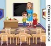 teacher and school kids. | Shutterstock . vector #655558621