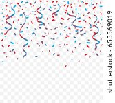 red and blue confetti and... | Shutterstock .eps vector #655569019