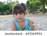happy kids playing at the beach ... | Shutterstock . vector #655569901