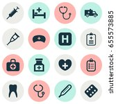medicine icons set. collection... | Shutterstock .eps vector #655573885