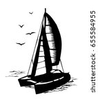 catamaran sailboat monochrome... | Shutterstock .eps vector #655584955