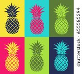 colorful set with pineapple... | Shutterstock .eps vector #655585294