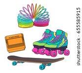 set of retro pop culture items... | Shutterstock .eps vector #655585915