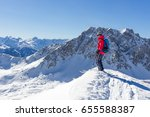 mountaineer with skiers... | Shutterstock . vector #655588387