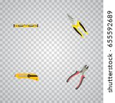 realistic plumb ruler  forceps  ... | Shutterstock .eps vector #655592689