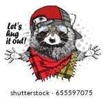 vector raccoon with red cap ...