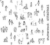 seamless pattern of tiny people ... | Shutterstock .eps vector #655605661