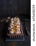 chocolate tart with meringue... | Shutterstock . vector #655608259