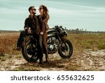 couple and cafe racer motorcycle | Shutterstock . vector #655632625