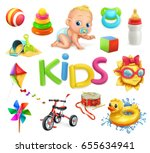 kids and toys. children... | Shutterstock .eps vector #655634941