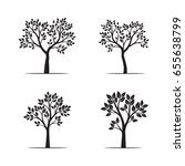 set black trees with leaves....   Shutterstock .eps vector #655638799