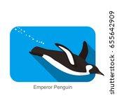 emperor penguin swimming in the ... | Shutterstock .eps vector #655642909