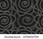 seamless black and white floral ... | Shutterstock .eps vector #655643704
