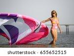 kite surfing girl with blond... | Shutterstock . vector #655652515