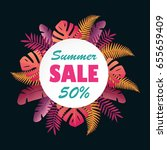 sale banner or poster with palm ... | Shutterstock .eps vector #655659409