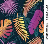 tropical trendy pattern with... | Shutterstock .eps vector #655659655