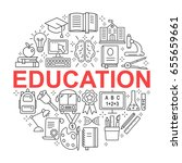 education icons set. outline... | Shutterstock .eps vector #655659661