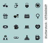 set of 16 editable amour icons. ... | Shutterstock .eps vector #655660669