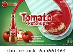 tomato ketchup shooting out... | Shutterstock .eps vector #655661464