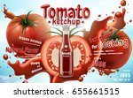 tomato ketchup with fresh fruit ... | Shutterstock .eps vector #655661515
