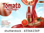 tomato ketchup ad with sauce... | Shutterstock .eps vector #655661569