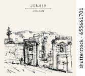ancient roman city of jerash ... | Shutterstock .eps vector #655661701