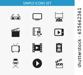 set of 12 editable movie icons. ... | Shutterstock .eps vector #655662361