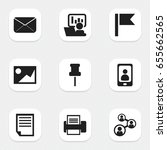 set of 9 editable bureau icons. ...