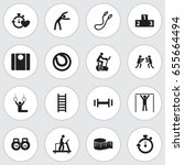 set of 16 editable exercise... | Shutterstock .eps vector #655664494