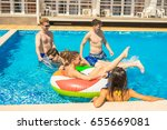 party at smimming pool. men and ... | Shutterstock . vector #655669081
