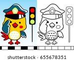 bird traffic cop with traffic... | Shutterstock .eps vector #655678351