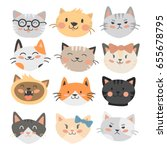 cats heads vector illustration... | Shutterstock .eps vector #655678795