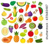 set of vegetables and fruits... | Shutterstock .eps vector #655683487
