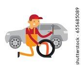 car service mechanic is fixing... | Shutterstock .eps vector #655685089