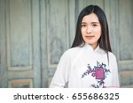 beautiful women vietnam with... | Shutterstock . vector #655686325