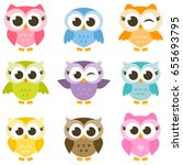 set of cute colorful owls... | Shutterstock . vector #655693795