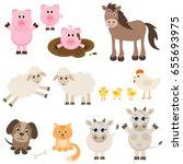 set of different farm animas... | Shutterstock . vector #655693975